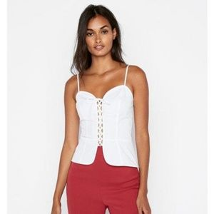 Express white lace up corset cami